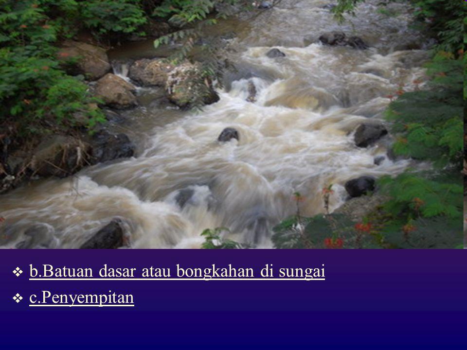  b.Batuan dasar atau bongkahan di sungai  c.Penyempitan