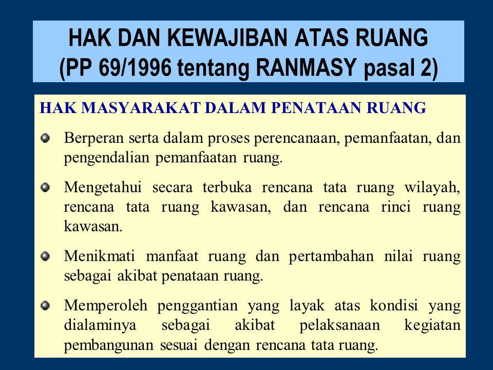 HAK DAN KEWAJIBAN ATAS RUANG (PP 69/1996 tentang RANMASY pasal 2) HAK MASYARAKAT DALAM PENATAAN RUANG Berperan serta dalam proses perencanaan, pemanfa