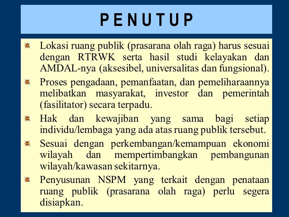 P E N U T U P Lokasi ruang publik (prasarana olah raga) harus sesuai dengan RTRWK serta hasil studi kelayakan dan AMDAL-nya (aksesibel, universalitas dan fungsional).