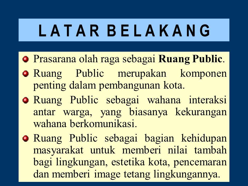 L A T A R B E L A K A N G Prasarana olah raga sebagai Ruang Public. Ruang Public merupakan komponen penting dalam pembangunan kota. Ruang Public sebag