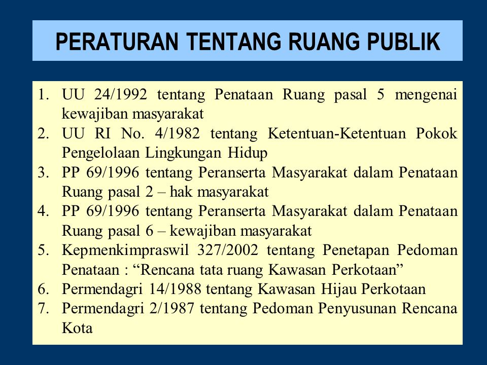 PERATURAN TENTANG RUANG PUBLIK 1.UU 24/1992 tentang Penataan Ruang pasal 5 mengenai kewajiban masyarakat 2.UU RI No. 4/1982 tentang Ketentuan-Ketentua