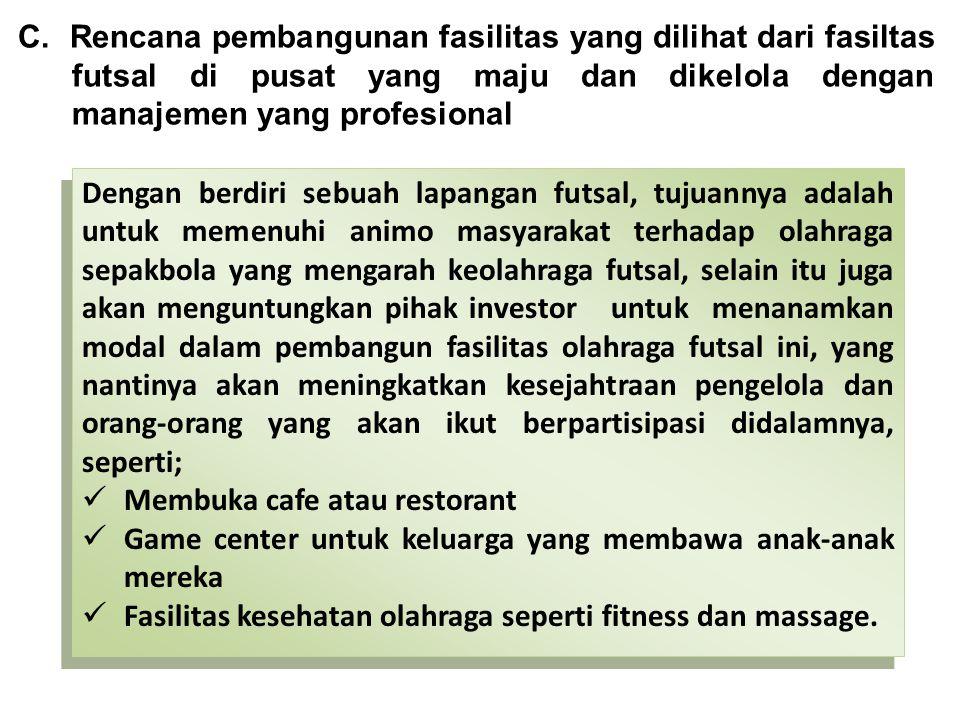 C. Rencana pembangunan fasilitas yang dilihat dari fasiltas futsal di pusat yang maju dan dikelola dengan manajemen yang profesional Dengan berdiri se