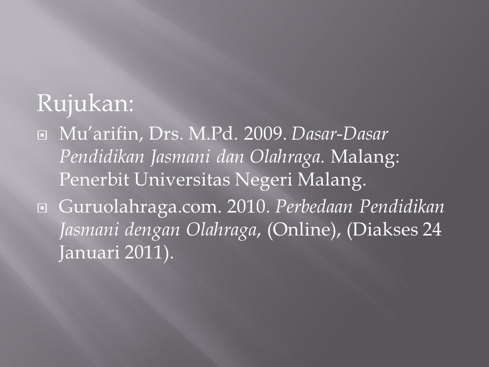 Rujukan:  Mu'arifin, Drs. M.Pd. 2009. Dasar-Dasar Pendidikan Jasmani dan Olahraga. Malang: Penerbit Universitas Negeri Malang.  Guruolahraga.com. 20