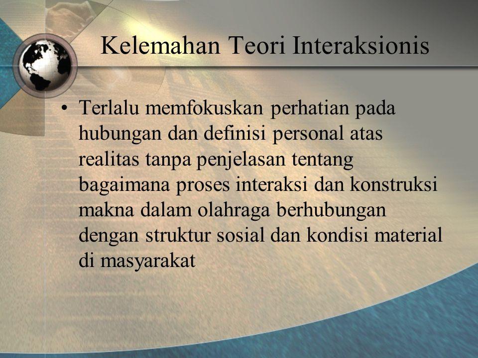 Kelemahan Teori Interaksionis •Terlalu memfokuskan perhatian pada hubungan dan definisi personal atas realitas tanpa penjelasan tentang bagaimana proses interaksi dan konstruksi makna dalam olahraga berhubungan dengan struktur sosial dan kondisi material di masyarakat
