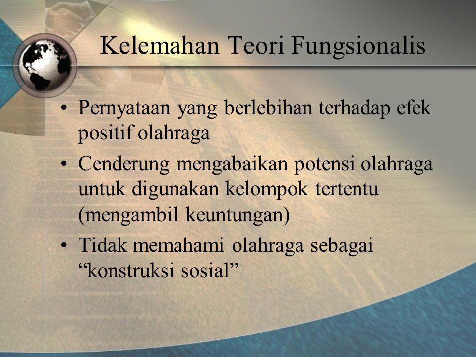 Kelemahan Teori Fungsionalis •Pernyataan yang berlebihan terhadap efek positif olahraga •Cenderung mengabaikan potensi olahraga untuk digunakan kelompok tertentu (mengambil keuntungan) •Tidak memahami olahraga sebagai konstruksi sosial