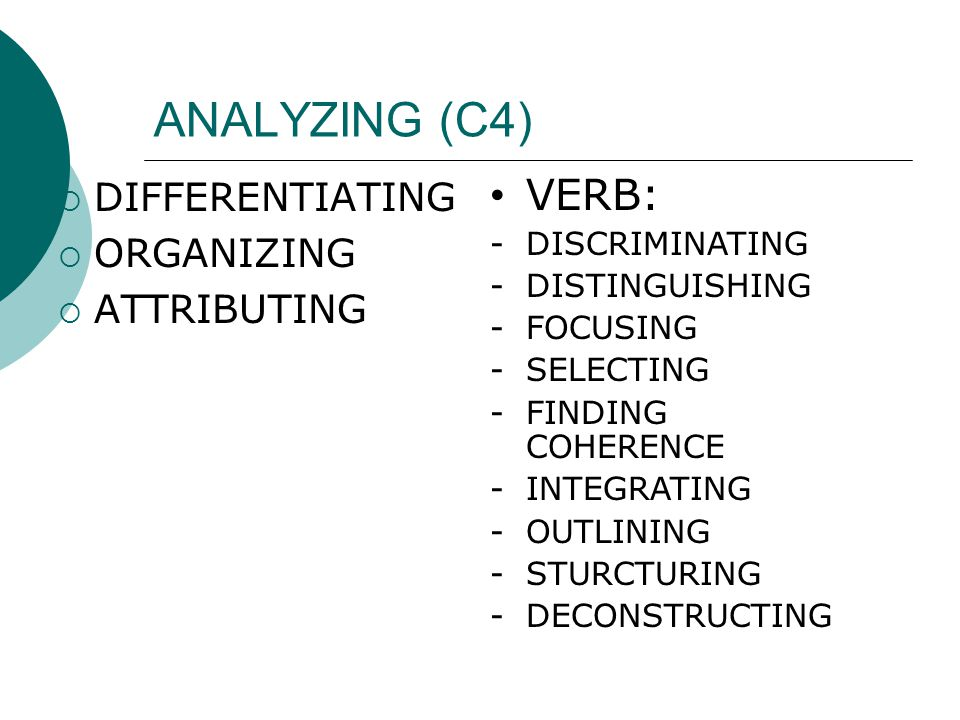 ANALYZING (C4)  DIFFERENTIATING  ORGANIZING  ATTRIBUTING • VERB: -DISCRIMINATING -DISTINGUISHING -FOCUSING -SELECTING -FINDING COHERENCE -INTEGRATI