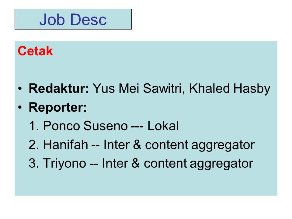 Job Desc Cetak •Redaktur: Yus Mei Sawitri, Khaled Hasby •Reporter: 1.