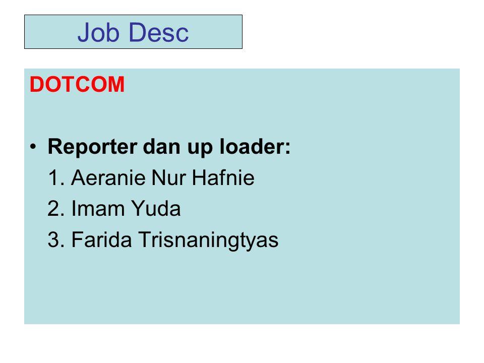 Job Desc DOTCOM •Reporter dan up loader: 1.Aeranie Nur Hafnie 2.