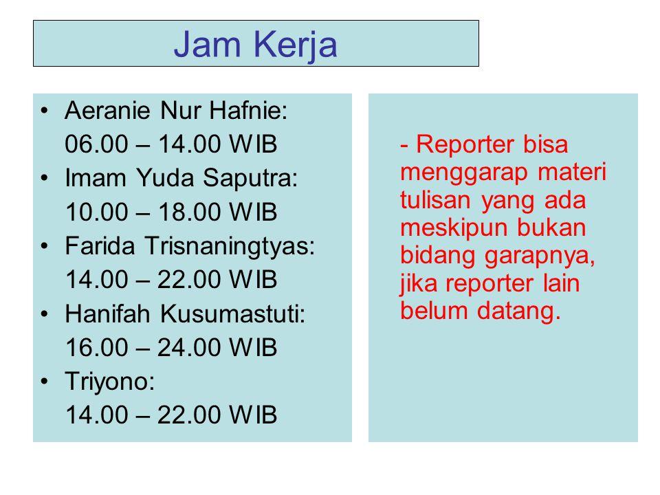 Jam Kerja •Aeranie Nur Hafnie: 06.00 – 14.00 WIB •Imam Yuda Saputra: 10.00 – 18.00 WIB •Farida Trisnaningtyas: 14.00 – 22.00 WIB •Hanifah Kusumastuti: 16.00 – 24.00 WIB •Triyono: 14.00 – 22.00 WIB - Reporter bisa menggarap materi tulisan yang ada meskipun bukan bidang garapnya, jika reporter lain belum datang.