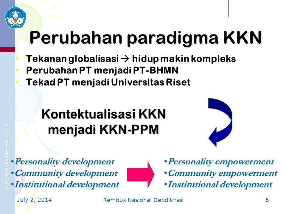 6 | Rembuk Nasional Depdiknas | 2.Juli 2014 Ditjen DIKTI Apakah itu KKN-PPM.