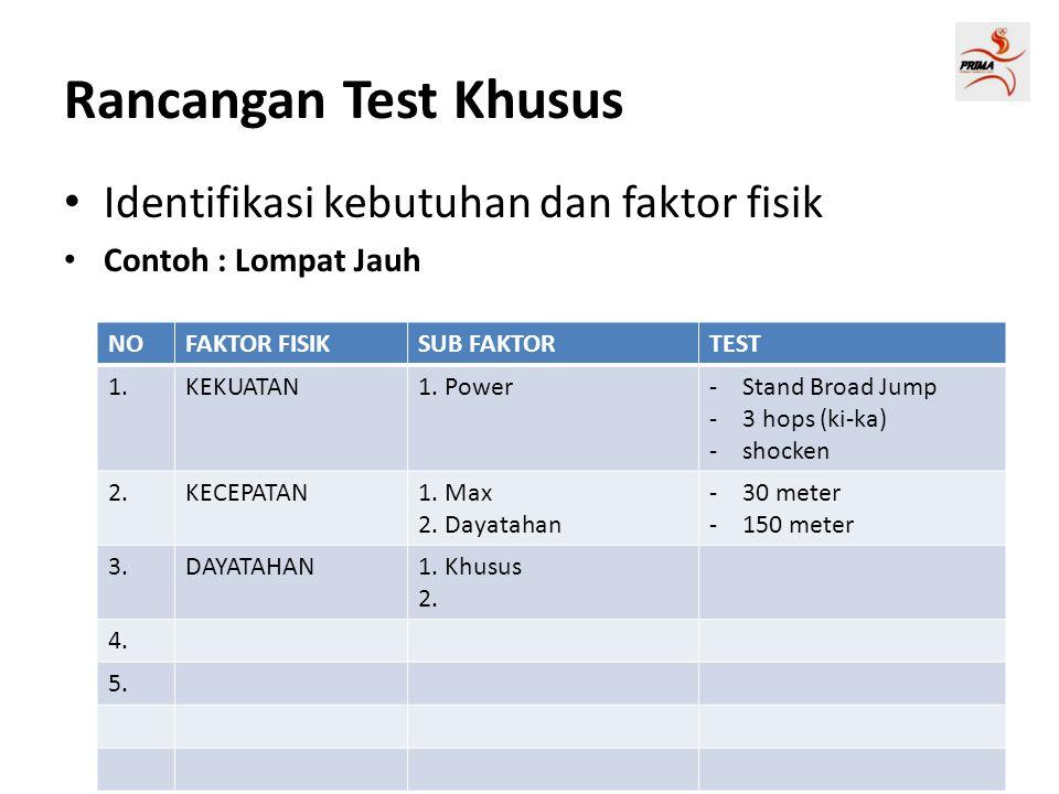 Rancangan Test Khusus • Identifikasi kebutuhan dan faktor fisik • Contoh : Lompat Jauh NOFAKTOR FISIKSUB FAKTORTEST 1.KEKUATAN1.