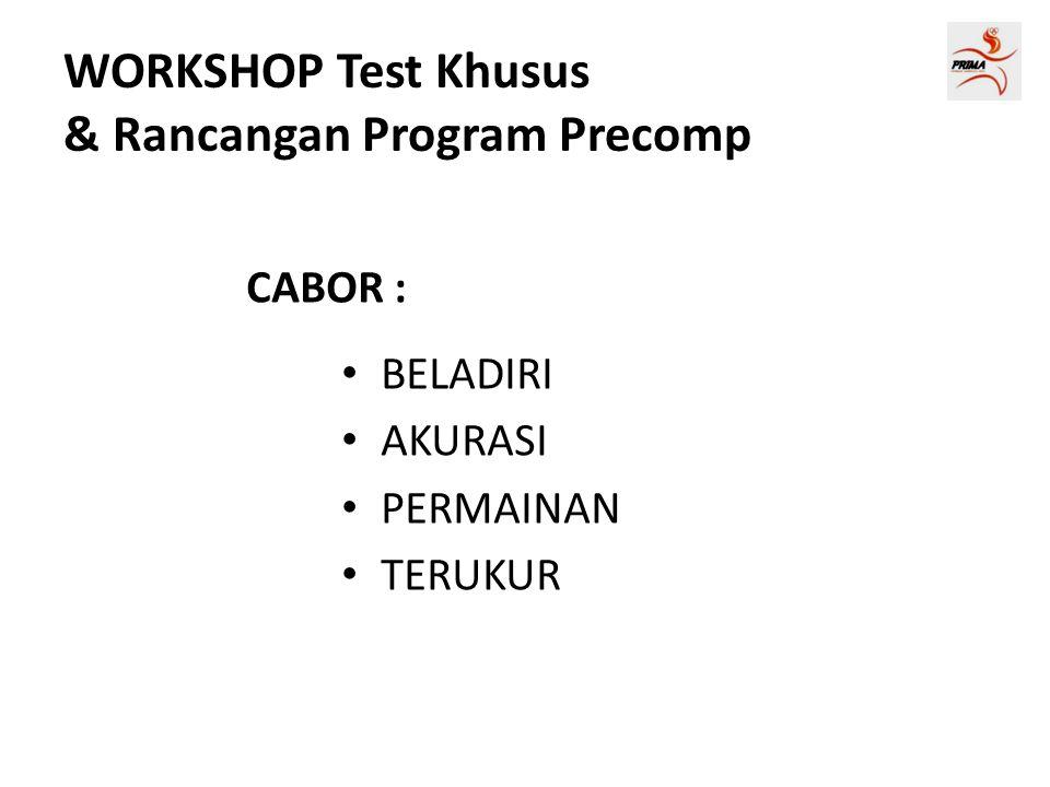 WORKSHOP Test Khusus & Rancangan Program Precomp CABOR : • BELADIRI • AKURASI • PERMAINAN • TERUKUR