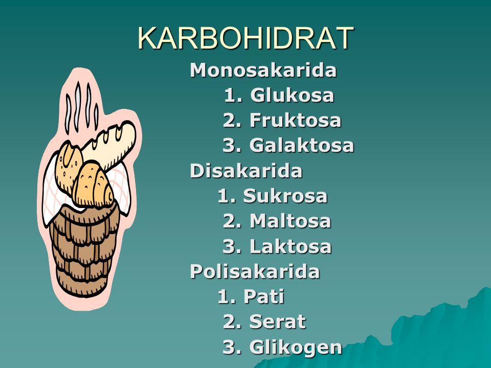 KARBOHIDRAT Monosakarida 1. Glukosa 1. Glukosa 2. Fruktosa 2. Fruktosa 3. Galaktosa 3. GalaktosaDisakarida 1. Sukrosa 1. Sukrosa 2. Maltosa 2. Maltosa