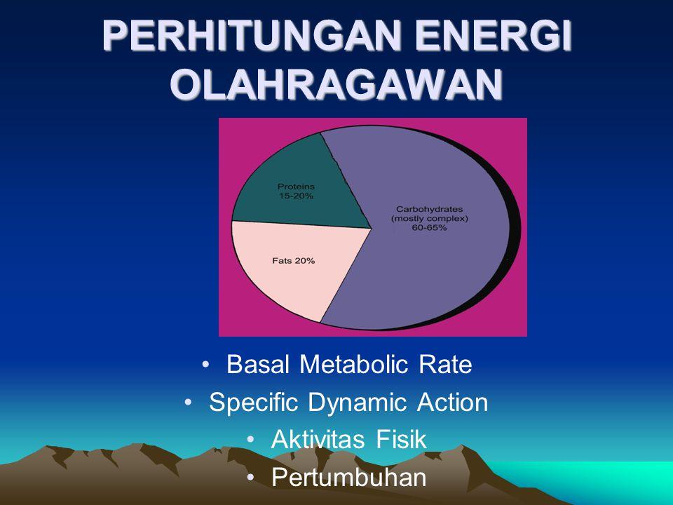 PERHITUNGAN ENERGI OLAHRAGAWAN •Basal Metabolic Rate •Specific Dynamic Action •Aktivitas Fisik •Pertumbuhan