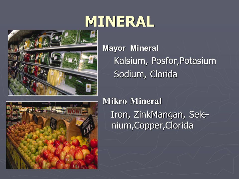 MINERAL Mayor Mineral Kalsium, Posfor,Potasium Sodium, Clorida Mikro Mineral Iron, ZinkMangan, Sele- nium,Copper,Clorida