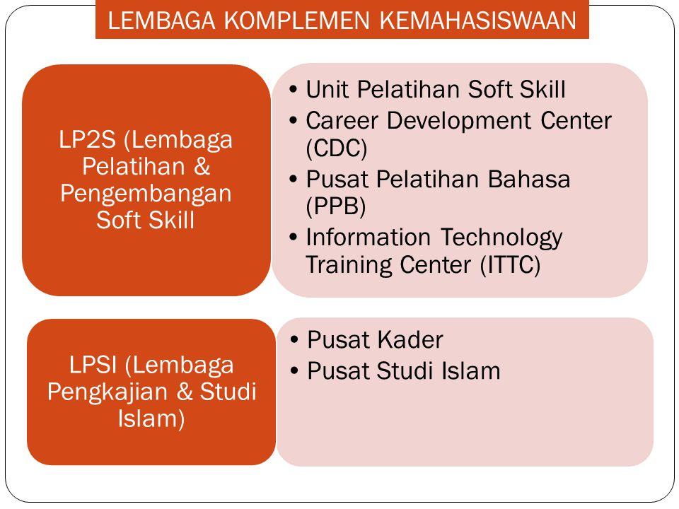 •Pusat Kader •Pusat Studi Islam LPSI (Lembaga Pengkajian & Studi Islam) •Unit Pelatihan Soft Skill •Career Development Center (CDC) •Pusat Pelatihan B