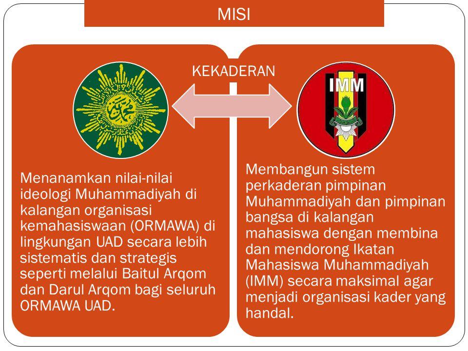 Menanamkan nilai-nilai ideologi Muhammadiyah di kalangan organisasi kemahasiswaan (ORMAWA) di lingkungan UAD secara lebih sistematis dan strategis sep