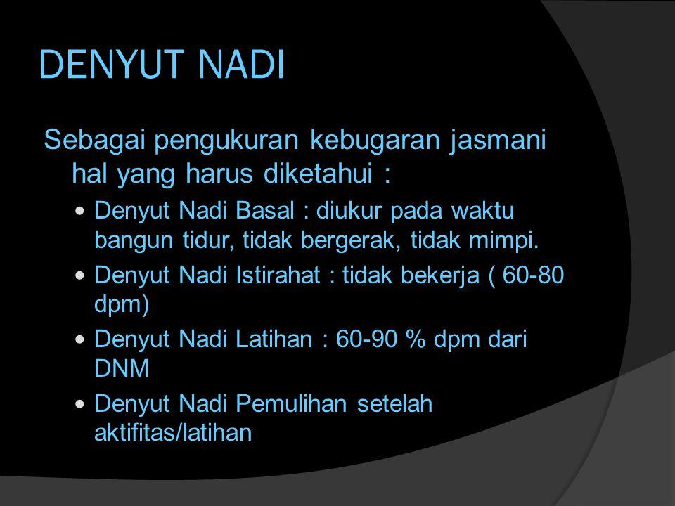 DENYUT NADI Sebagai pengukuran kebugaran jasmani hal yang harus diketahui :  Denyut Nadi Basal : diukur pada waktu bangun tidur, tidak bergerak, tidak mimpi.