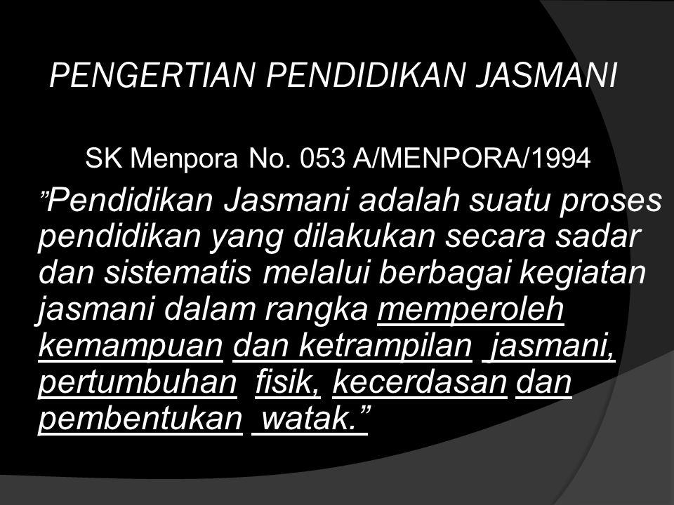 PENGERTIAN PENDIDIKAN JASMANI SK Menpora No.