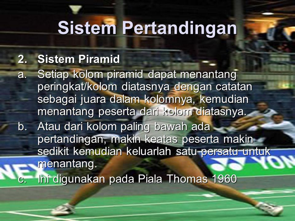 Sistem Pertandingan 2.Sistem Piramid a.Setiap kolom piramid dapat menantang peringkat/kolom diatasnya dengan catatan sebagai juara dalam kolomnya, kemudian menantang peserta dari kolom diatasnya.