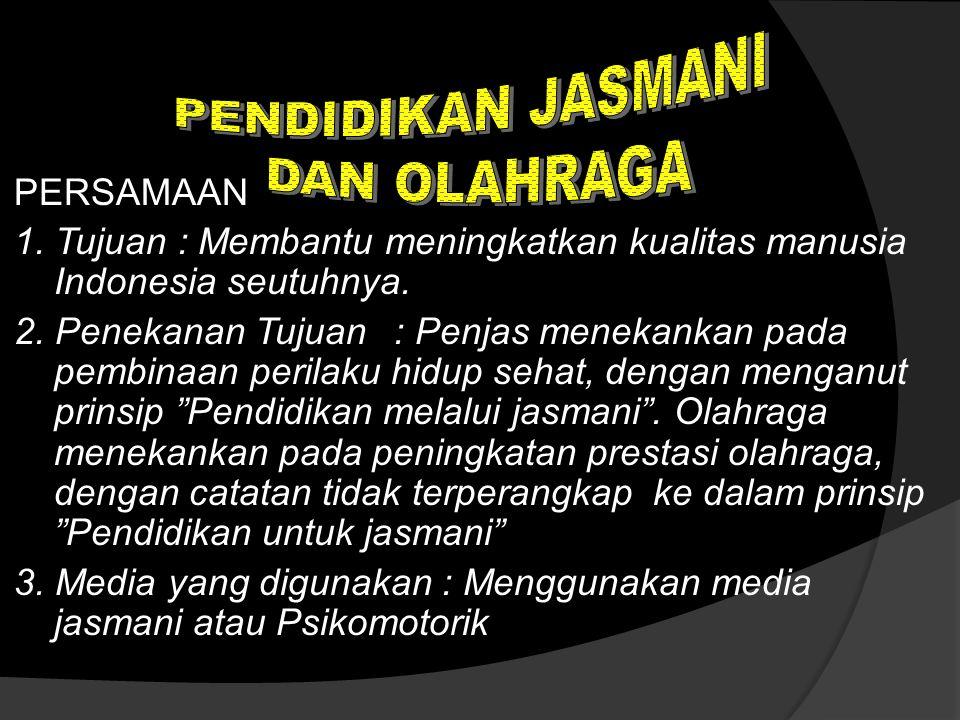 PERSAMAAN 1.Tujuan : Membantu meningkatkan kualitas manusia Indonesia seutuhnya.