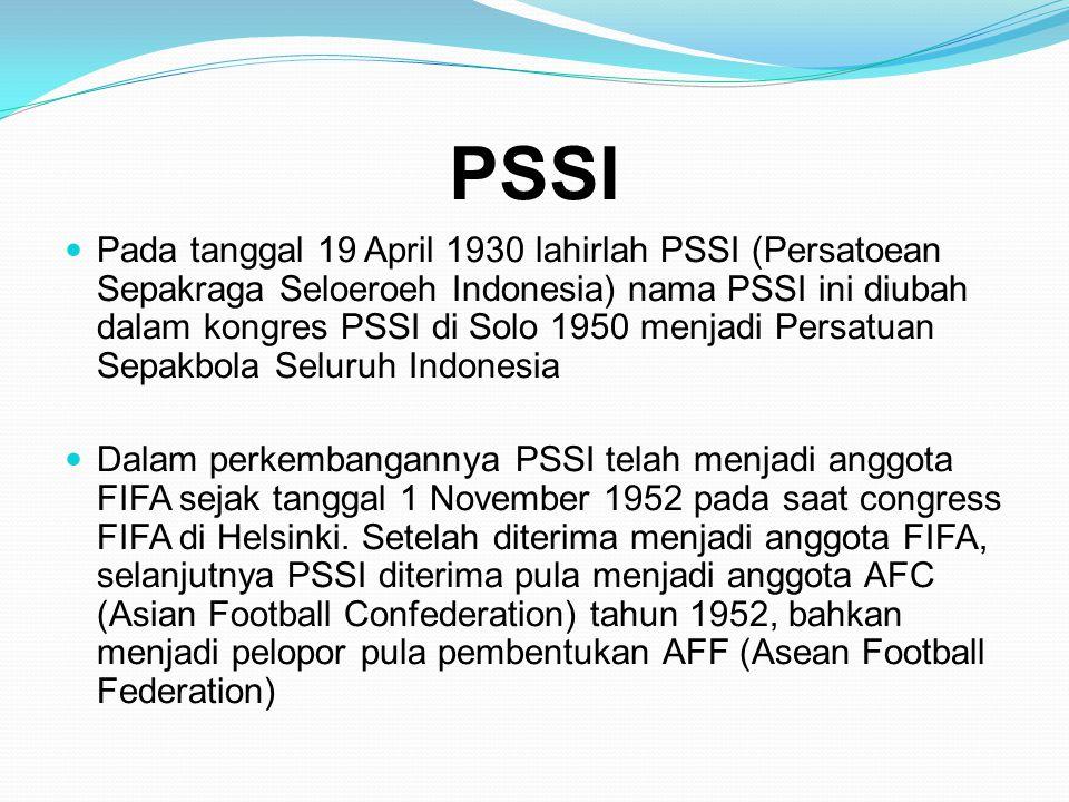 PSSI  Pada tanggal 19 April 1930 lahirlah PSSI (Persatoean Sepakraga Seloeroeh Indonesia) nama PSSI ini diubah dalam kongres PSSI di Solo 1950 menjad