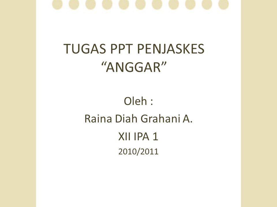 """TUGAS PPT PENJASKES """"ANGGAR"""" Oleh : Raina Diah Grahani A. XII IPA 1 2010/2011"""