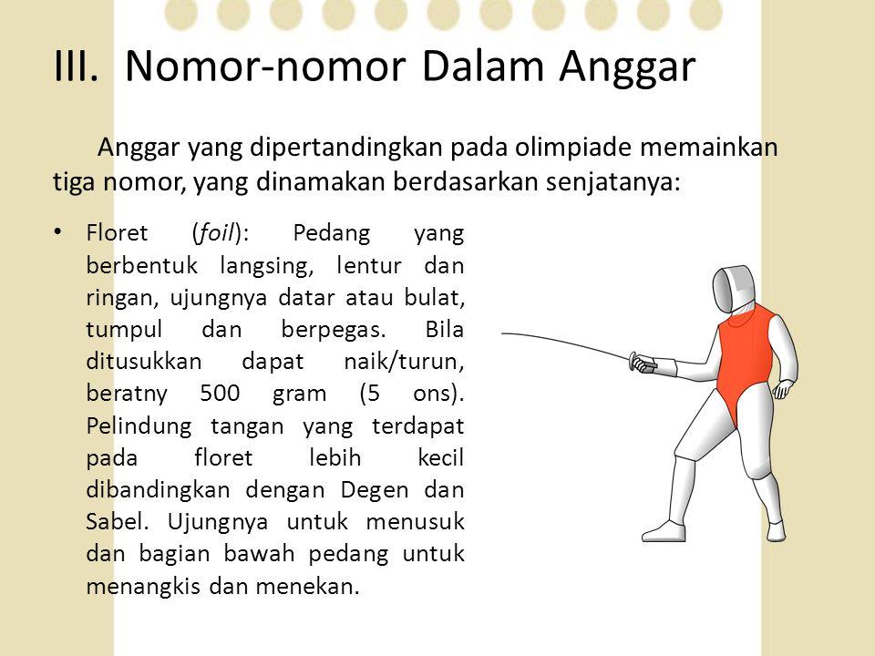 III. Nomor-nomor Dalam Anggar Anggar yang dipertandingkan pada olimpiade memainkan tiga nomor, yang dinamakan berdasarkan senjatanya: • Floret (foil):