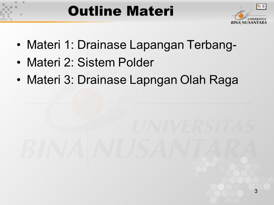 3 Outline Materi •Materi 1: Drainase Lapangan Terbang- •Materi 2: Sistem Polder •Materi 3: Drainase Lapngan Olah Raga