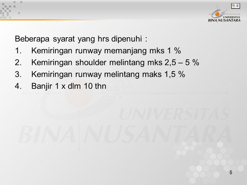 5 Beberapa syarat yang hrs dipenuhi : 1.Kemiringan runway memanjang mks 1 % 2.Kemiringan shoulder melintang mks 2,5 – 5 % 3.Kemiringan runway melintan