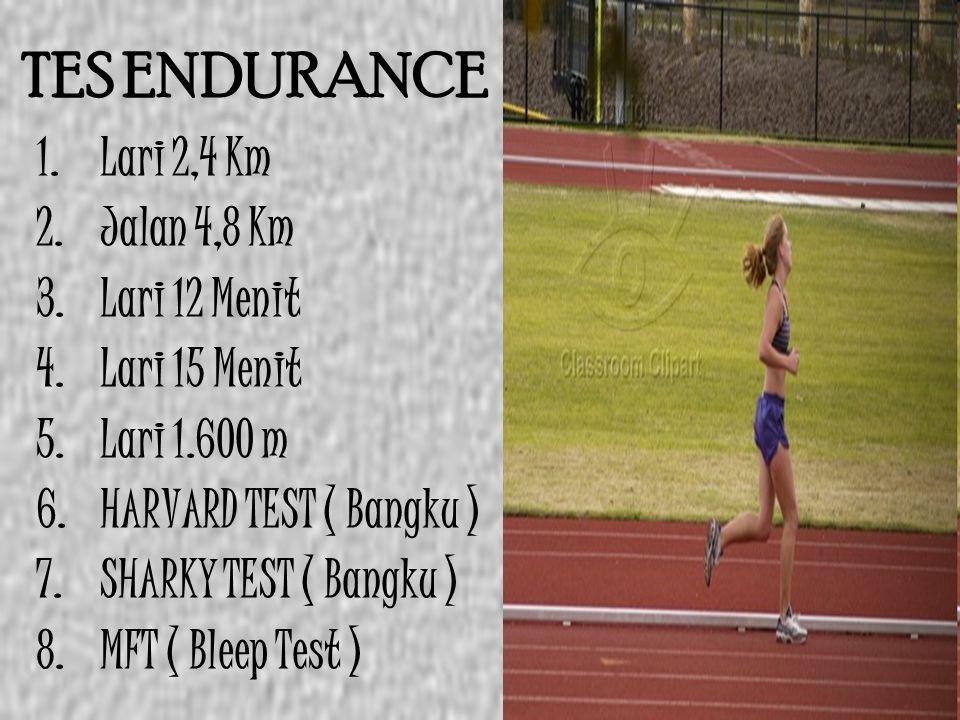TES ENDURANCE 1.Lari 2,4 Km 2.Jalan 4,8 Km 3.Lari 12 Menit 4.Lari 15 Menit 5.Lari 1.600 m 6.HARVARD TEST ( Bangku ) 7.SHARKY TEST ( Bangku ) 8.MFT ( B