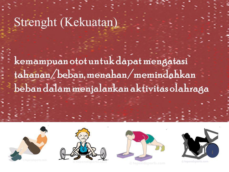Strenght (Kekuatan) kemampuan otot untuk dapat mengatasi tahanan/beban, menahan/memindahkan beban dalam menjalankan aktivitas olahraga