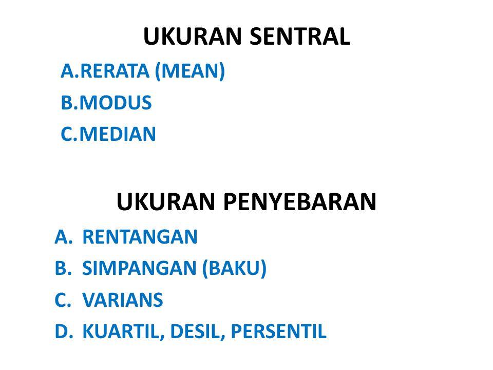 UKURAN SENTRAL A.RERATA (MEAN) B.MODUS C.MEDIAN UKURAN PENYEBARAN A.RENTANGAN B.SIMPANGAN (BAKU) C.VARIANS D.KUARTIL, DESIL, PERSENTIL