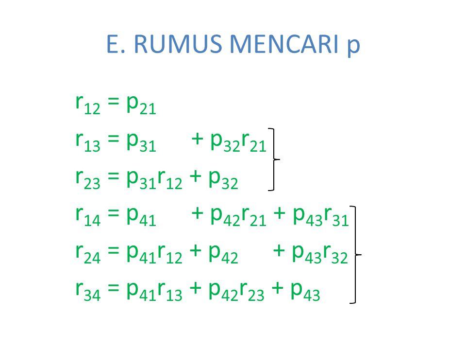 E. RUMUS MENCARI p r 12 = p 21 r 13 = p 31 + p 32 r 21 r 23 = p 31 r 12 + p 32 r 14 = p 41 + p 42 r 21 + p 43 r 31 r 24 = p 41 r 12 + p 42 + p 43 r 32