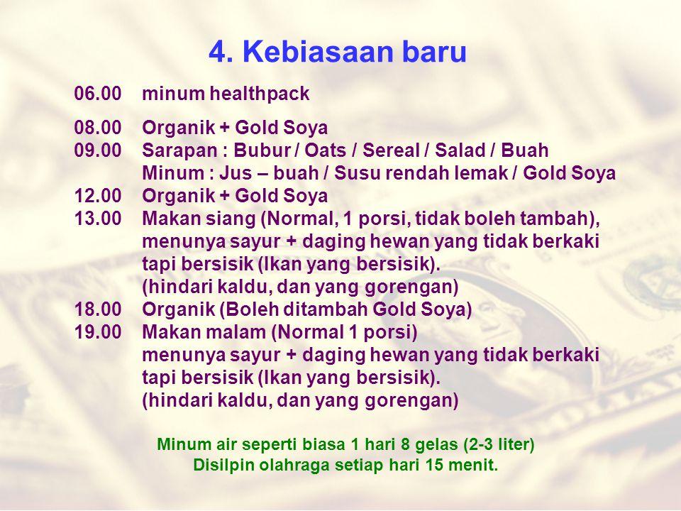 4. Kebiasaan baru 06.00 minum healthpack 08.00Organik + Gold Soya 09.00Sarapan : Bubur / Oats / Sereal / Salad / Buah Minum : Jus – buah / Susu rendah