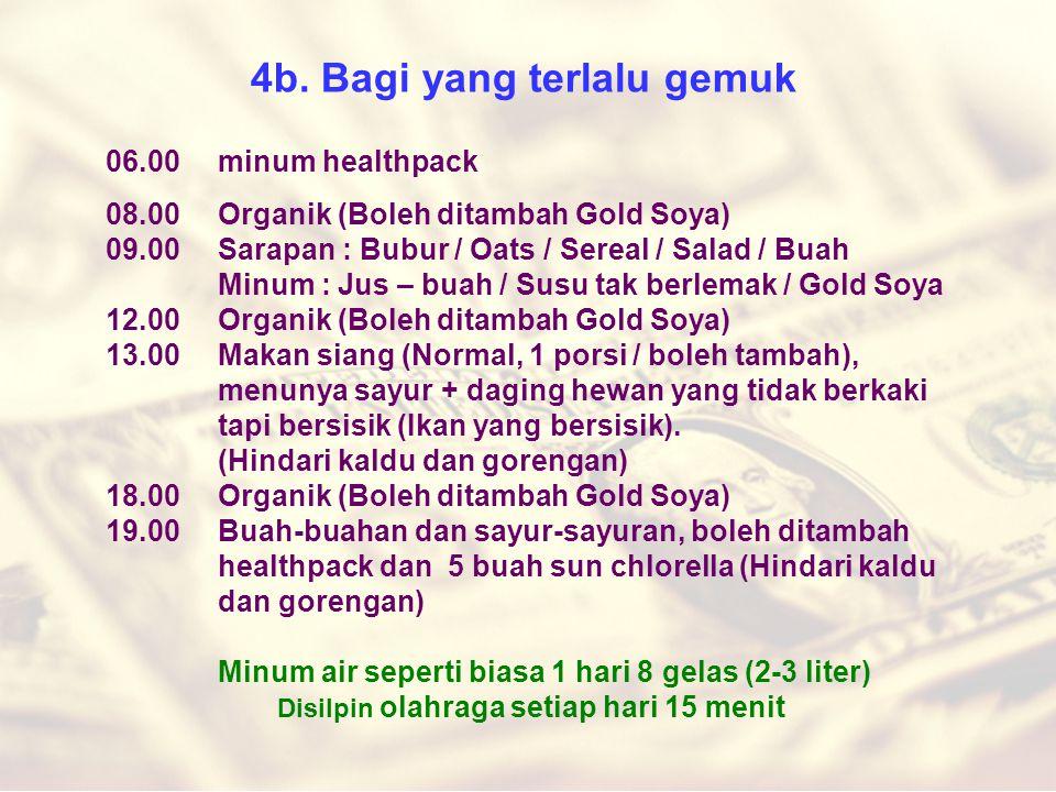 4b. Bagi yang terlalu gemuk 06.00 minum healthpack 08.00Organik (Boleh ditambah Gold Soya) 09.00Sarapan : Bubur / Oats / Sereal / Salad / Buah Minum :