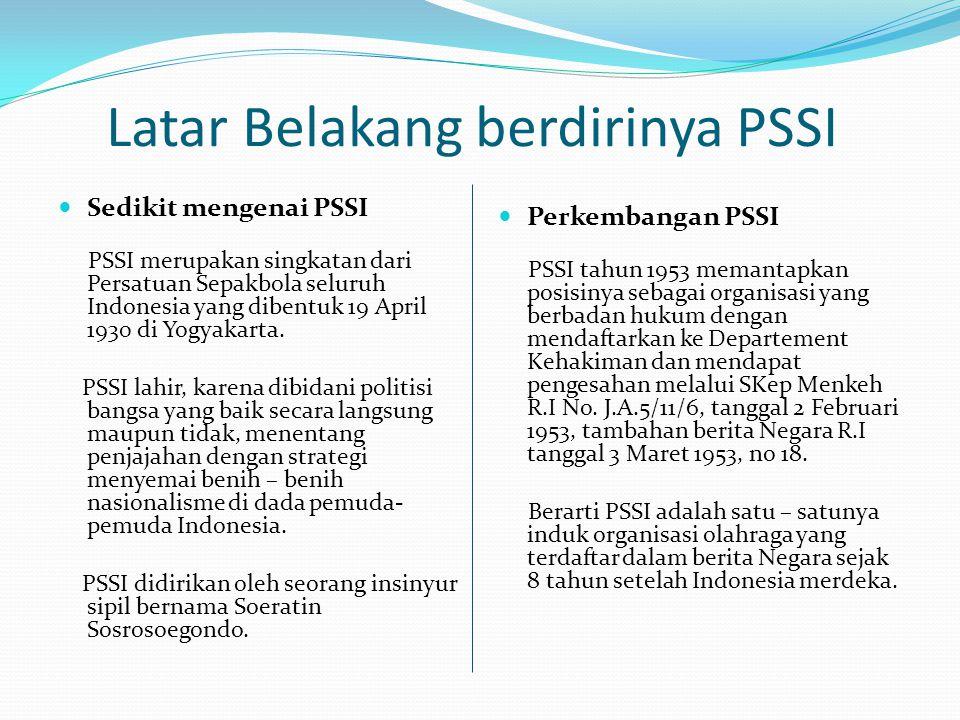 Latar Belakang berdirinya PSSI  Sedikit mengenai PSSI PSSI merupakan singkatan dari Persatuan Sepakbola seluruh Indonesia yang dibentuk 19 April 1930