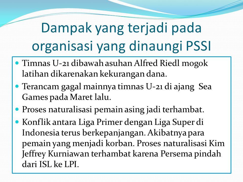 Dampak yang terjadi pada organisasi yang dinaungi PSSI  Timnas U-21 dibawah asuhan Alfred Riedl mogok latihan dikarenakan kekurangan dana.  Terancam