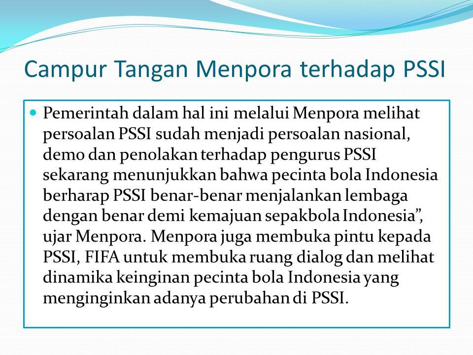 Turut campurnya FIFA dalam permasalahan PSSI  Kisruh di tubuh Persatuan Sepakbola Seluruh Indonesia (PSSI) sudah sampai ke telinga para petinggi di Federasi Sepakbola Dunia (FIFA).