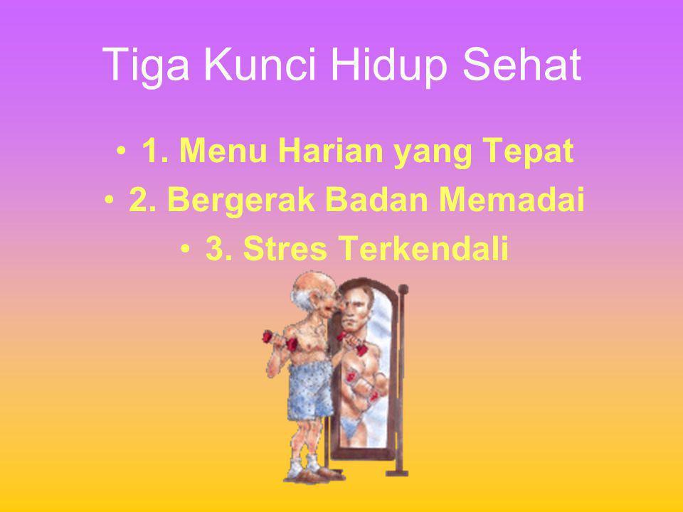 Tiga Kunci Hidup Sehat •1. Menu Harian yang Tepat •2. Bergerak Badan Memadai •3. Stres Terkendali