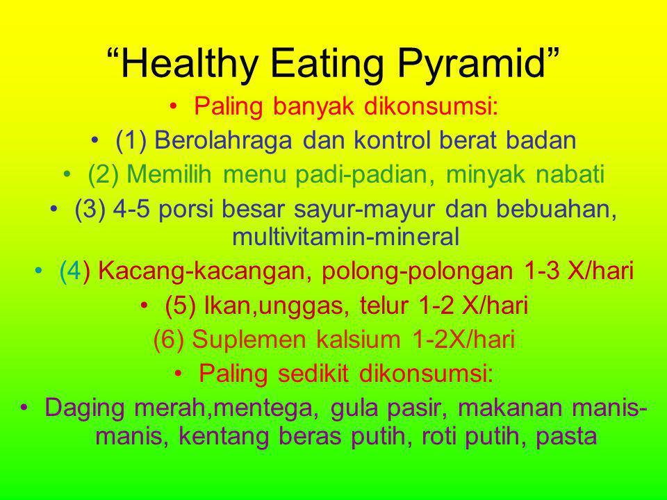 Healthy Eating Pyramid •Paling banyak dikonsumsi: •(1) Berolahraga dan kontrol berat badan •(2) Memilih menu padi-padian, minyak nabati •(3) 4-5 porsi besar sayur-mayur dan bebuahan, multivitamin-mineral •(4) Kacang-kacangan, polong-polongan 1-3 X/hari •(5) Ikan,unggas, telur 1-2 X/hari (6) Suplemen kalsium 1-2X/hari •Paling sedikit dikonsumsi: •Daging merah,mentega, gula pasir, makanan manis- manis, kentang beras putih, roti putih, pasta