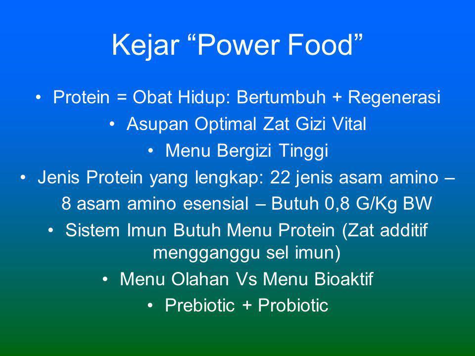Kejar Power Food •Protein = Obat Hidup: Bertumbuh + Regenerasi •Asupan Optimal Zat Gizi Vital •Menu Bergizi Tinggi •Jenis Protein yang lengkap: 22 jenis asam amino – 8 asam amino esensial – Butuh 0,8 G/Kg BW •Sistem Imun Butuh Menu Protein (Zat additif mengganggu sel imun) •Menu Olahan Vs Menu Bioaktif •Prebiotic + Probiotic