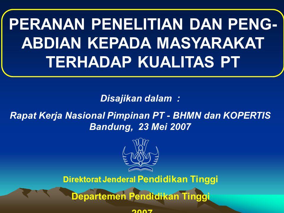 PERANAN PENELITIAN DAN PENG- ABDIAN KEPADA MASYARAKAT TERHADAP KUALITAS PT Direktorat Jenderal Pendidikan Tinggi Departemen Pendidikan Tinggi 2007 Disajikan dalam : Rapat Kerja Nasional Pimpinan PT - BHMN dan KOPERTIS Bandung, 23 Mei 2007
