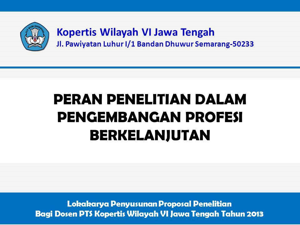 PERAN PENELITIAN DALAM PENGEMBANGAN PROFESI BERKELANJUTAN Kopertis Wilayah VI Jawa Tengah Jl. Pawiyatan Luhur I/1 Bandan Dhuwur Semarang-50233 Lokakar