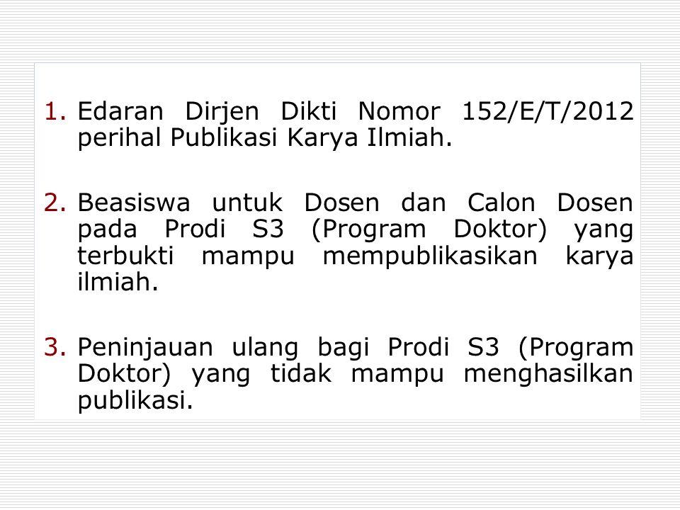 1.Edaran Dirjen Dikti Nomor 152/E/T/2012 perihal Publikasi Karya Ilmiah. 2.Beasiswa untuk Dosen dan Calon Dosen pada Prodi S3 (Program Doktor) yang te