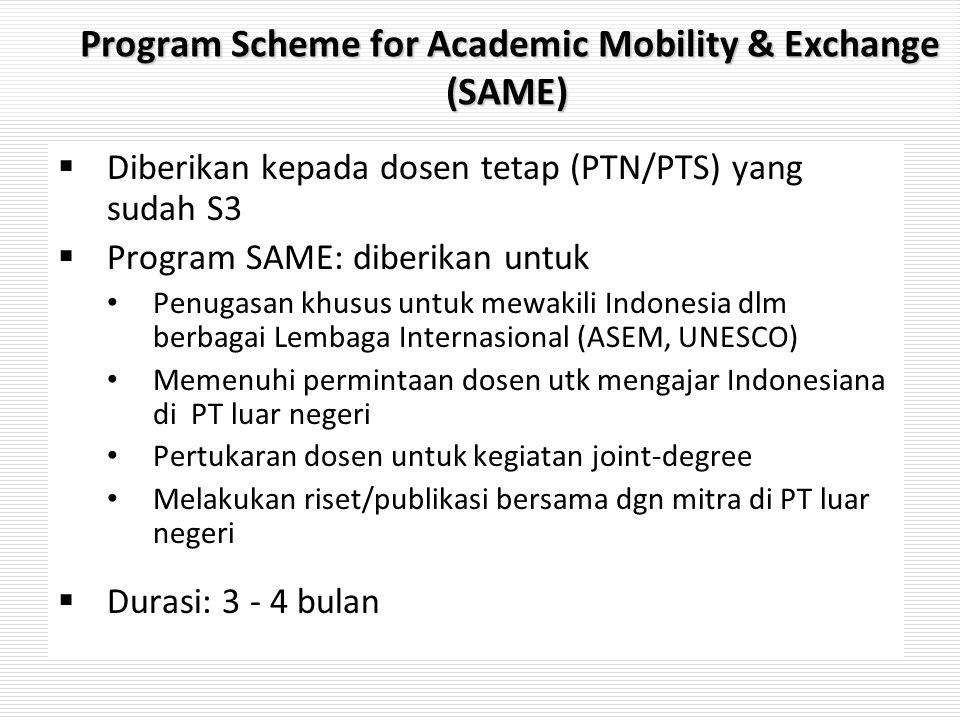 Program Scheme for Academic Mobility & Exchange (SAME) Program Scheme for Academic Mobility & Exchange (SAME)  Diberikan kepada dosen tetap (PTN/PTS)