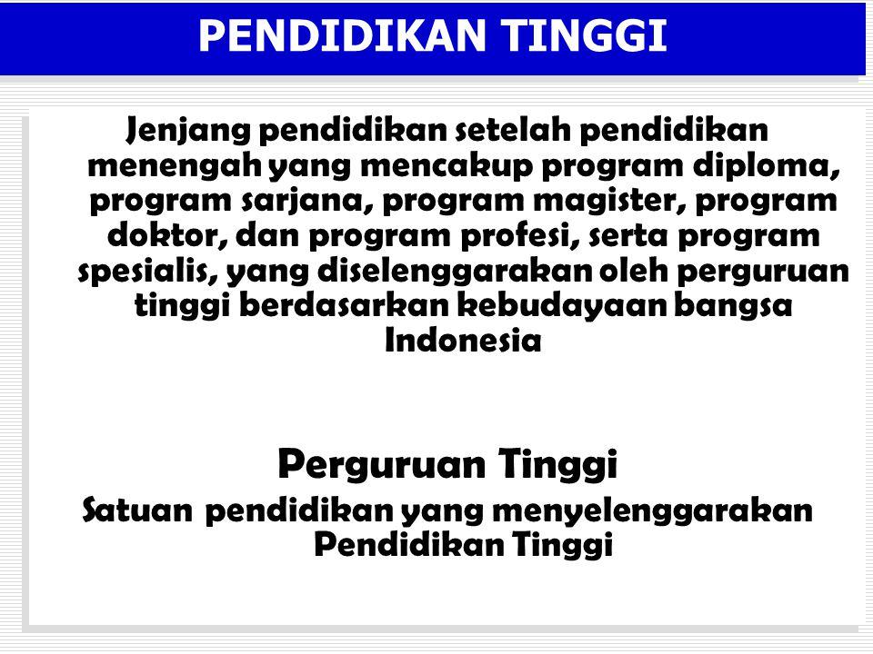 PENDIDIKAN TINGGI Jenjang pendidikan setelah pendidikan menengah yang mencakup program diploma, program sarjana, program magister, program doktor, dan program profesi, serta program spesialis, yang diselenggarakan oleh perguruan tinggi berdasarkan kebudayaan bangsa Indonesia Perguruan Tinggi Satuan pendidikan yang menyelenggarakan Pendidikan Tinggi Jenjang pendidikan setelah pendidikan menengah yang mencakup program diploma, program sarjana, program magister, program doktor, dan program profesi, serta program spesialis, yang diselenggarakan oleh perguruan tinggi berdasarkan kebudayaan bangsa Indonesia Perguruan Tinggi Satuan pendidikan yang menyelenggarakan Pendidikan Tinggi