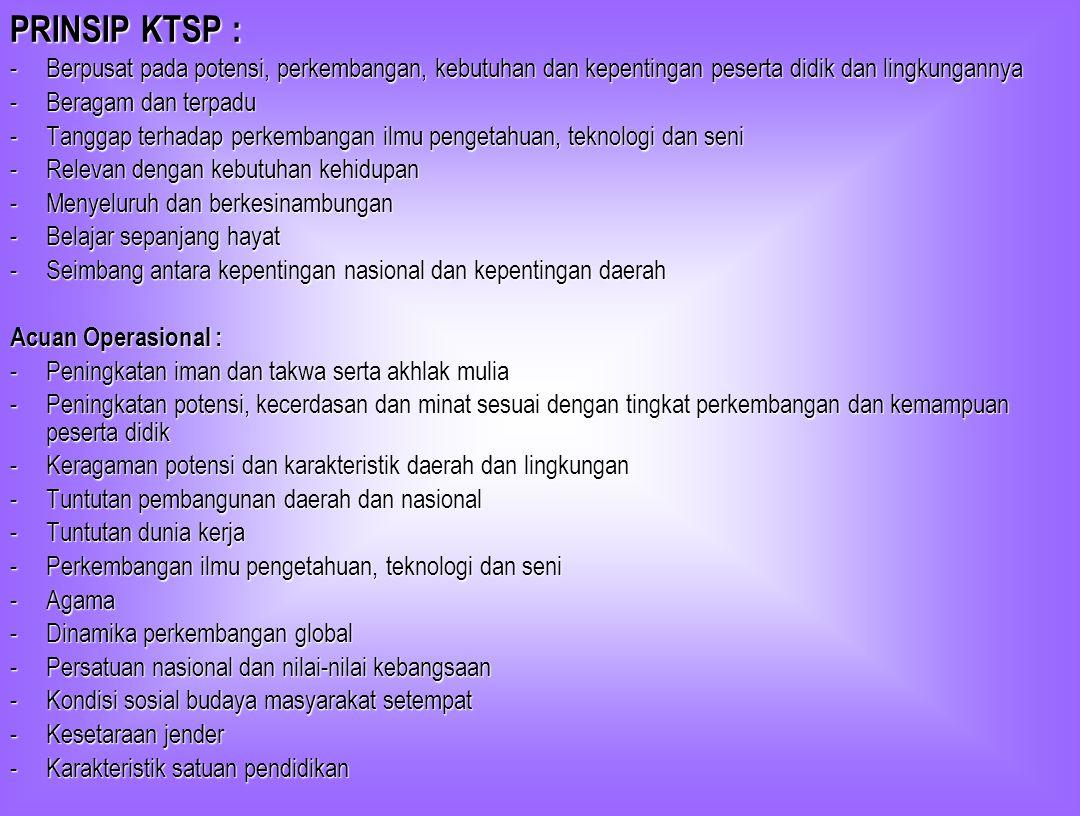 PRINSIP KTSP : -Berpusat pada potensi, perkembangan, kebutuhan dan kepentingan peserta didik dan lingkungannya -Beragam dan terpadu -Tanggap terhadap