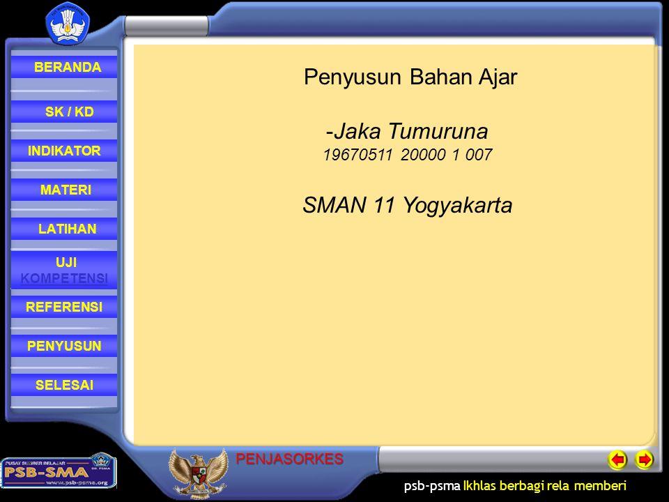 psb-psma Ikhlas berbagi rela memberi REFERENSI LATIHAN MATERI PENYUSUN INDIKATOR SK / KD UJI KOMPETENSI BERANDA SELESAIPENJASORKES Penyusun Bahan Ajar -Jaka Tumuruna 19670511 20000 1 007 SMAN 11 Yogyakarta