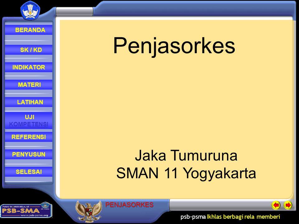 psb-psma Ikhlas berbagi rela memberi REFERENSI LATIHAN MATERI PENYUSUN INDIKATOR SK / KD UJI KOMPETENSI BERANDA SELESAIPENJASORKES Referensi : - Muhajir,2007,Penjasorkes XI, Jakarta, Erlangga - Drs.
